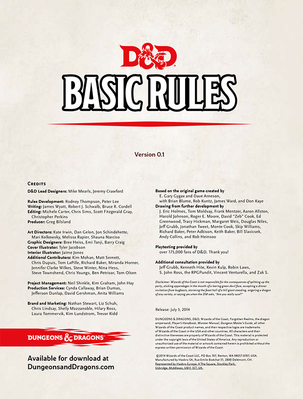 D&D Basic Rules | No art, just the facts!