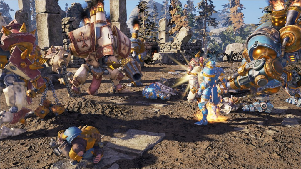 Menoth clashes with Cygnar! (Also, ragdoll physics are too hilarious sometimes...)